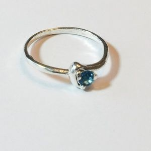 PassionKids Accessories - Heart Silver plated Teal CZ  Ring